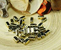 60pcsメタリックゴールドのレンガチェコガラスビーズの二つの穴が3mm x6mm
