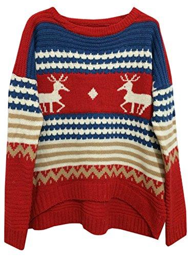 (アザブロ ガール)Azbro Girl レディース 可愛い クリスマス 鹿柄 カラーブロック あったか セーター