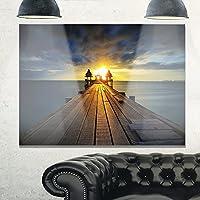 """デザインアートmt10592–20–12Illuminated Wooden Bridge In Sunlight Sea Pierメタル壁アート 40x30"""" MT10592-40-30"""