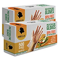 (Medium) - 1000 BPA Free Disposable Poly PE Gloves Medium, Food Grade, 2 Pack of 500
