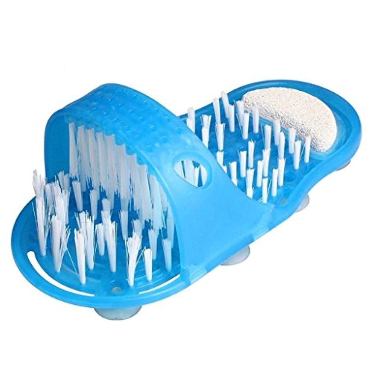 石鹸圧縮控える1xシャワーフットマッサージャースクラバーバスルームスリッパ足吹き出しリムーバーツール