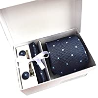 6pcsメンズネクタイギフトセット( Includingタイ、正方形、カフス、タイクリップ、ホワイトギフトボックス、ギフトバッグ)