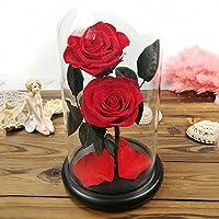 ギフトバレンタインデークリエイティブギフト永遠の花のガラスの装飾品 (色 : 赤)