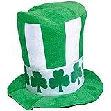 Printed聖パトリックのストーブパイプ帽子シャムロックのアイルランドのテーマパーティー