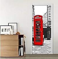 Wsqyf リビングルームダイニングルームのドアステッカー3D赤い電話ボックス現代のクリエイティブアートの壁紙Pvc防水ドアデカールホームポスター77×200センチ