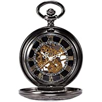 Vintage Men Steampunk Skeleton Clock Pocket Watch Hand-Winding Mechanical Watches With Pendant Chain Jewelry New