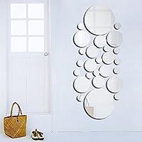 Demiawaking 壁鏡 DIY 壁貼りシール 壁装飾ミラー 光るシール 剥がせる 安全 割れない鏡セット 浴室 インテリア ウォールステッカー おしゃれ (円)
