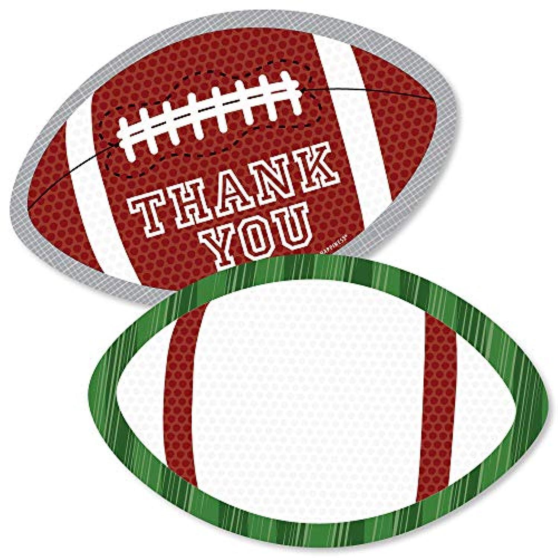 End Zone - フットボール - 形をしたサンキューカード - ベビーシャワーや誕生日パーティーのサンキューカード 封筒付き - 12枚セット