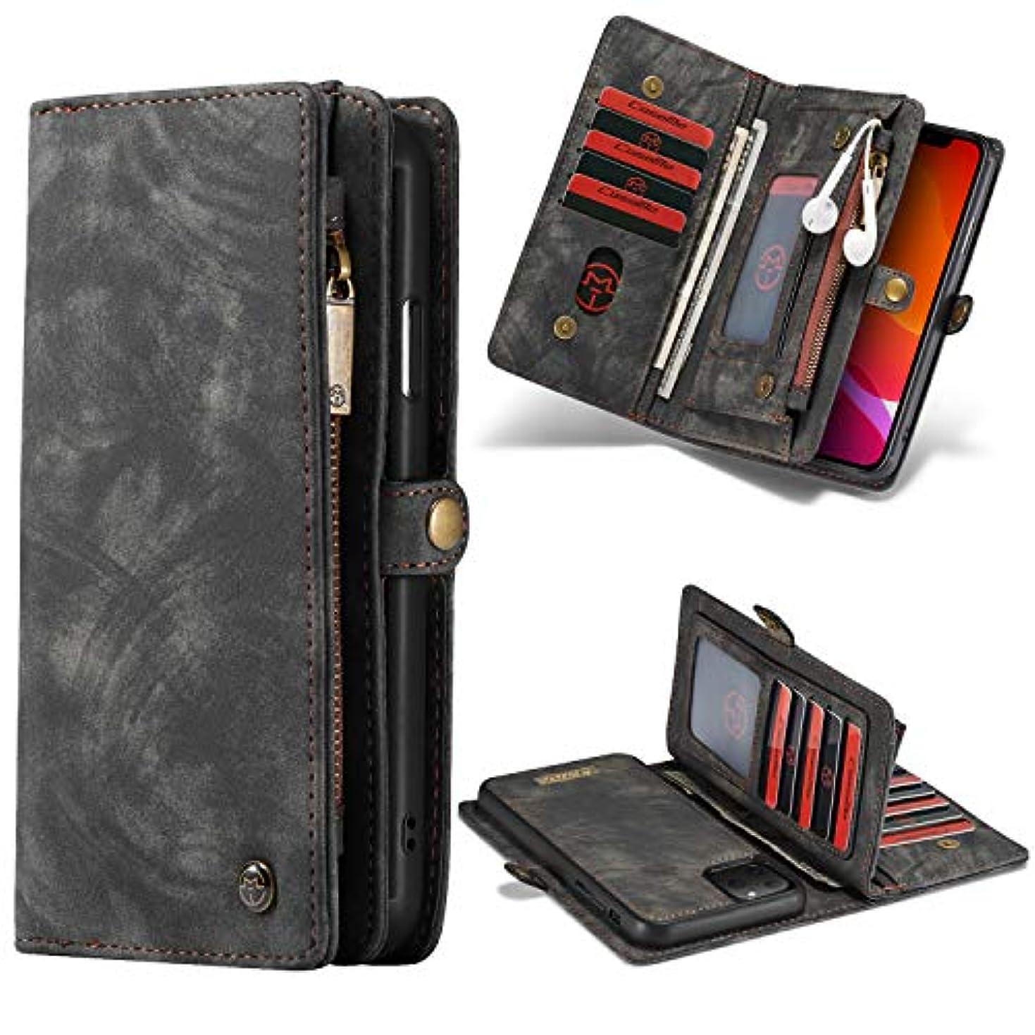 コイル郵便局危険なiPhone 11ケース2019、TABCaseハイグレードジッパーウォレットレザー着脱式磁気電話ケース、クレジットカードスロット、携帯電話ホルダーカバー、専用iPhone 11 6.1'',黒