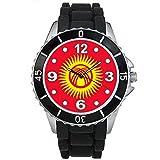 bmsc406キルギス国国旗メンズレディースブラックJellyシリコンバンド腕時計
