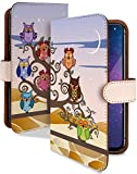 Xperia XZs SOV35 ケース 手帳型 ふくろう 紫 キャラ イラスト スマホケース エクスペリア 手帳 カバー XperiaXZs sov35ケース sov35カバー 月 梟 夜空 フクロウ柄 [ふくろう 紫/t0555d]