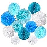ペーパーフラワー ボール紙と紙 耐久性 高品質ライトブルーブルーとホワイト12個セット