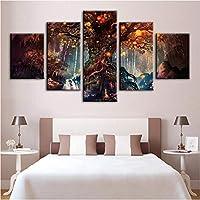 Wuyyii 壁アートワーク写真キャンバスポスター家の装飾現代5パネル風景橋抽象絵画プリントフォトフレームワーク-20X35Cmx2/20X45Cmx2/20X55Cmx1