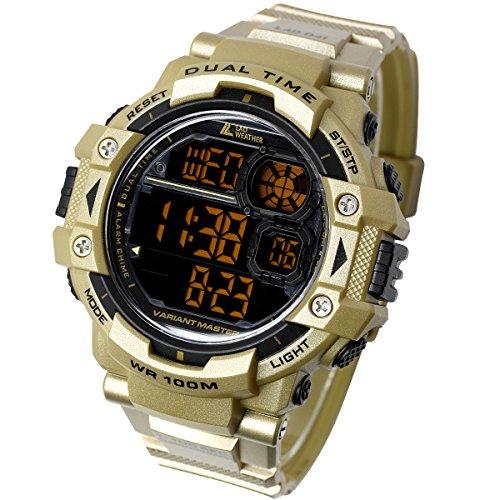 [ラドウェザー]ミリタリーウォッチ サバゲ― アウトドア メンズ腕時計 (ゴールド(反転液晶))