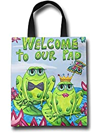 WACRDG Shopping Handle Bags,Welcome To Our Pad Personalized Tote Bag