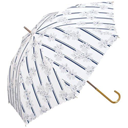w.p.c(WPC) 【長傘】【軽くて丈夫で持ちやすい】ストライプフラワー (雨傘/レディース)【オフホワイト/58】