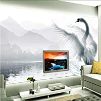 Xbwy カスタムヨーロッパスタイルロマンチックな白鳥壁画壁紙リビングルーム寝室不織布防湿家の装飾壁紙ロール-120X100Cm