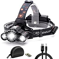 Cobiz LEDヘッドライト 超高輝度 10000ルーメン 充電式 防水仕様 18650 4段階の点灯モード