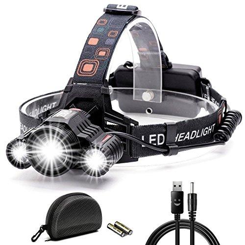 LEDヘッドライト Cobiz 超高輝度 1,000ルーメン 充電式 防水仕様 18650 4段階の点灯モード SOSフラッシュ機能