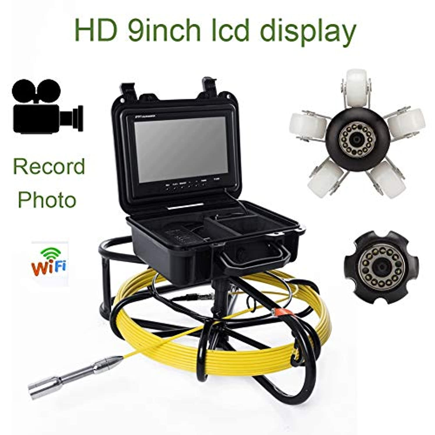 薄いです電話に出る悲惨9インチWIFI工業用パイプライン下水道検知カメラIP68防水排水検知1000 TVL DVR機能,150M