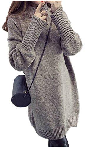 ニットワンピ ニットワンピース ワンピース ニット セーター トップス チュニック ハイネック タートルネック リブ リブニット シンプル カジュアル ゆったり 秋冬 体型カバー 大きいサイズ フリーサイズ ひざ丈 膝丈 レディース (カーキ)