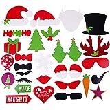 クリスマス写真ブース小道具 - 28個 DIYクリスマス写真ブース スティック付き 面白いクリスマス自撮り用小道具 大人 子供用 クリスマステーマ パーティー記念品 デコレーション用品