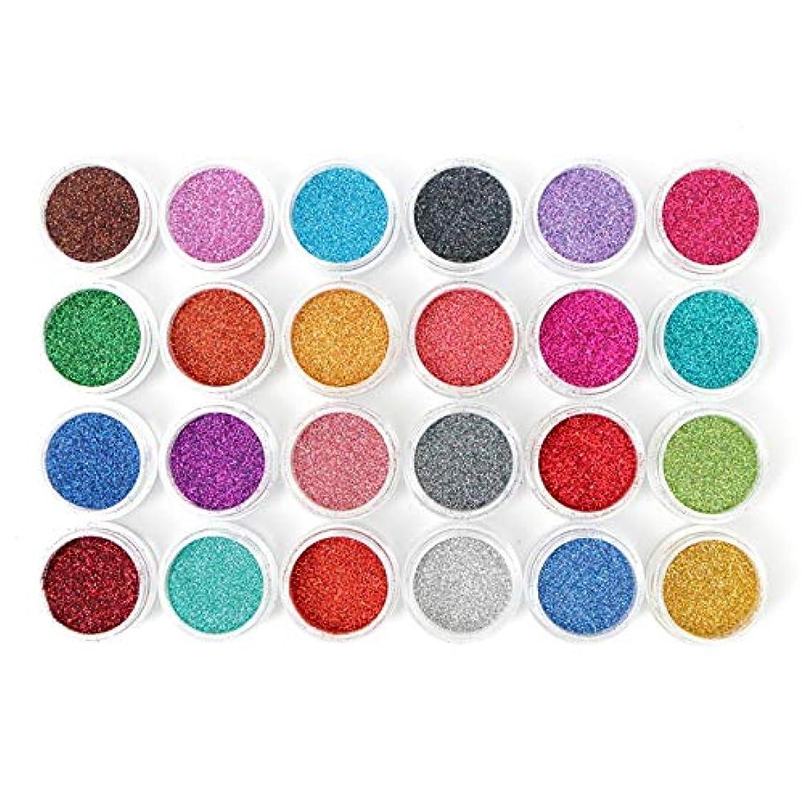 お風呂野心コンピューター[LALONA] ラメパウダー (微粒子タイプ)(24色セット) グリッター定番カラー (0.1mm)
