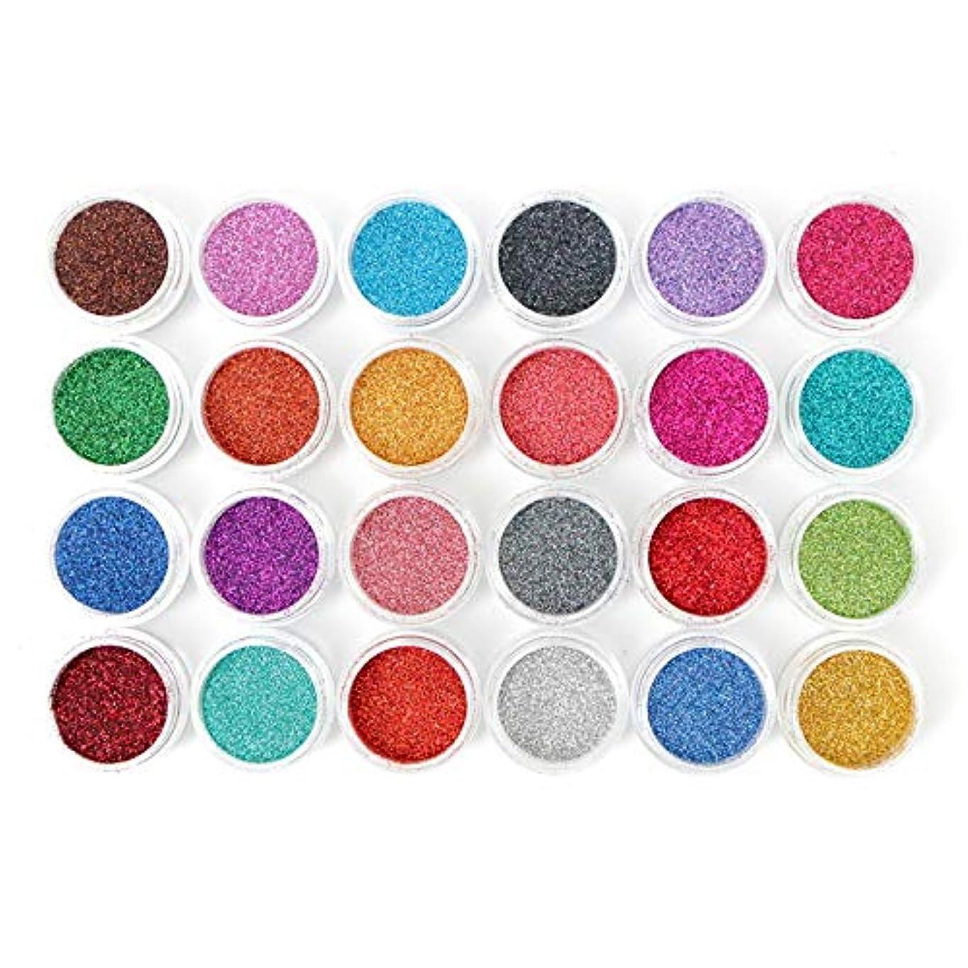 更新チョップ領収書[LALONA] ラメパウダー (微粒子タイプ)(24色セット) グリッター定番カラー (0.1mm)
