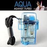 ツインライト AQUA TURBO LIGHTER ターボライター AGAINST TURBO 風・水に強い (ブルー)
