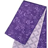 リバーシブル 半巾帯 小袋帯【白石麻衣/紫 パープル 小花・七宝 15486】