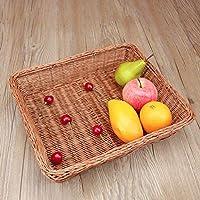 SLH 竹と籐で作られたフルーツバスケットスナックキャンディーパンのバスケットリビングルーム雑貨の手織りの家庭用竹のバスケット (Color : Brown)