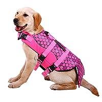 犬用ライフジャケット 救命胴衣 フローティングベスト ハンドル付き 浮力が優れる 水遊び用 水泳の練習用品 小型犬 中型犬 大型犬 運動不足解消 size M (ピンク)
