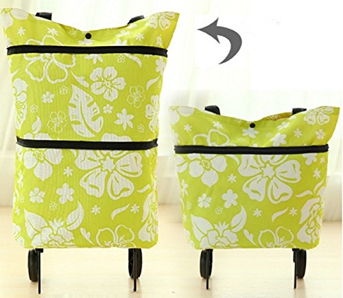[해외]캐리 백 접이식 가벼운 편리한 바퀴 쇼핑 가방 여행에도 (?花柄)/Carryback Folding type lightly convenient casters with shopping carry bag Travel (green flower pattern)