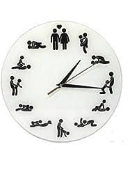[クイーンビー] ウォール クロック 壁掛け 時計 セックス デザイン おもしろ アナログ インテリア 室内 部屋 装飾 ギフト プレゼント (白)