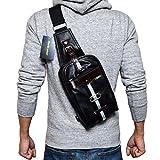 (Marib select) 斜めがけバッグ ボディバッグ 落ち着いたカラバリ ワンショルダーバッグ 鞄 目を引くツートンライン #b684 (ブラック)