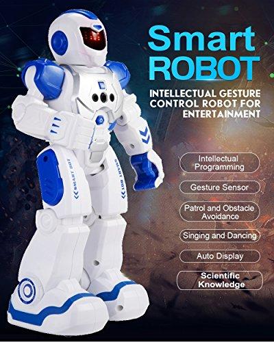 Threeking ラジコンロボット 充電式スマートRCロボット 手振り感応おもちゃ 音楽ダンス 科学知識 二足歩行 リモートコントロール ジェスチャーコントロール おもちゃロボット プログラム可能 (ブルー)