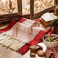 WENLI テーブルランナー 休日のクリスマス新年の装飾のための赤いクリスマス手作りの織りの家の装飾パーティーギフトタッセルベッドテーブルランナークロス (Size : 35x180cm)