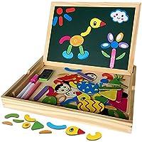 木のおもちゃ お絵かきボード ホワイトボード 黒板 マグネット パズル 幼児 知育玩具 約70枚ブロック付き