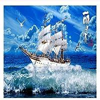 caomei 3D壁紙青空帆船自然風景3Dの壁壁画写真の壁紙リビングルームの研究3D @ 4
