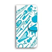 LG isai vivid ケース 手帳型 LGV32 スマホケース 【楽器 / 3-ブルー】 キャメル ミラー&カードスロット付き エルジー イサイ ビビッド au