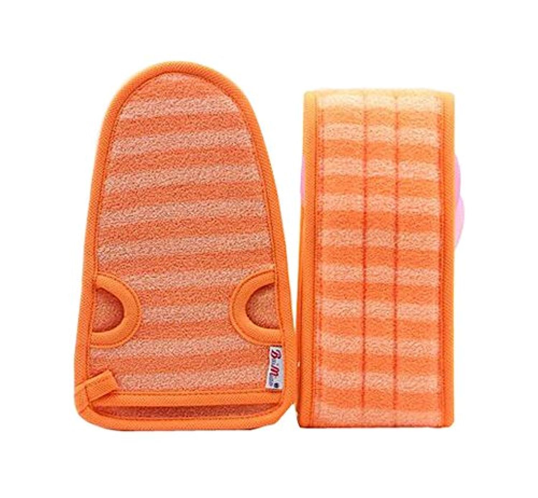 姿を消す毛細血管採用女性オレンジのための柔らかいミトンの剥離手袋のバスベルトの2
