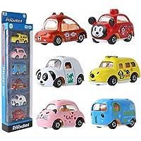 Coolplay 6パックAssortedミニ車、合金ダイキャストVehiclesプレイセット、漫画動物トラック慣性おもちゃセット、Push and Go Friction Powered Car教育おもちゃ子供用幼児用