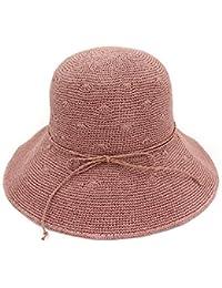 Yaojiaju 夏ストロー帽子、夏Foldableストローちょう結び日帽子ファインハンドかぎ針編みのサンスクリーンビーチハット女性のための (色 : Red)