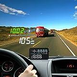 Safego 3.5インチ GPS + コンパス 車載 HUD ヘッドアップディスプレイ - OBDI OBD II対応 または イ スピードメーター ドライブドクター フロントガラス ディスプレイ表示 運転走行距離測定 過速度警報 時間 バッテリ電圧表示 kmとマイルの間の自由スイッチング