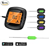 Bluetooth Wireless Meat Thermometer, Digital Cooking Kitchen Thermometer with 6-Channel, Solis Smart Food Thermometer for Smoker Oven and Grill
