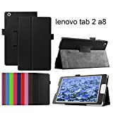 Asng Softbank 501LV Lenovo TAB2 / TAB3 8インチ専用保護ケース 超軽量/二通りのスタンド機能付き(HDクリア保護フィルム1枚付き) (黒)