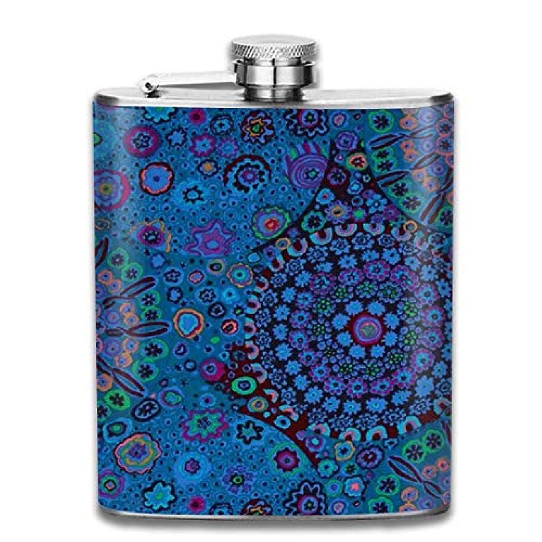 朝の体操をする通知するプラカード美しい花柄 青フラスコ スキットル ヒップフラスコ 7オンス 206ml 高品質ステンレス製 ウイスキー アルコール 清酒 携帯 ボトル