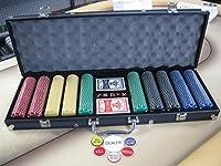 500チップPoker SuitedチップセットW / Dice、カード、Dealerキット、ブラックケース&キー