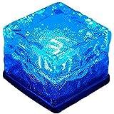 LEDライト クリスタルレンガ LED、SIMPLE DO ウォールライト アイスレンガ 夜ランプ 光る氷 感光式 高輝度 センサー ソーラー 防水 IP68 ガーデン 中庭 プール 屋外の装飾(ブルー)