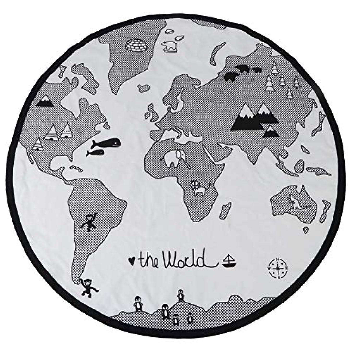 枯渇するエゴイズム付録oenbopo 135 cmアドベンチャー世界地図 パターン 円形の子供ゲームマット厚く赤ちゃんクロールプレイマット